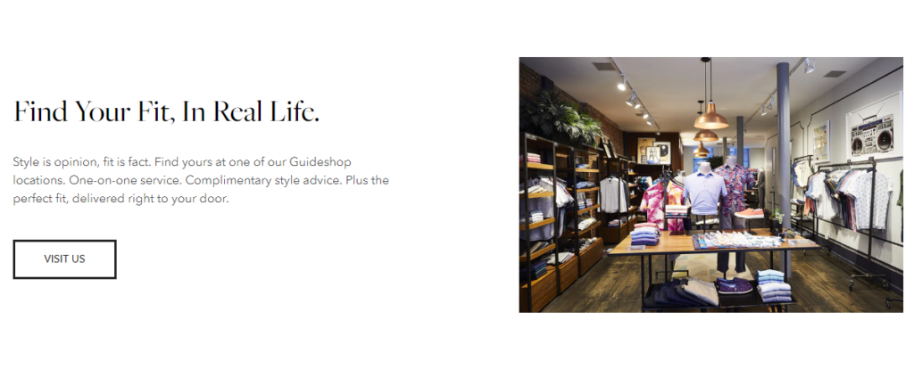 Bonobos website encourages store visits