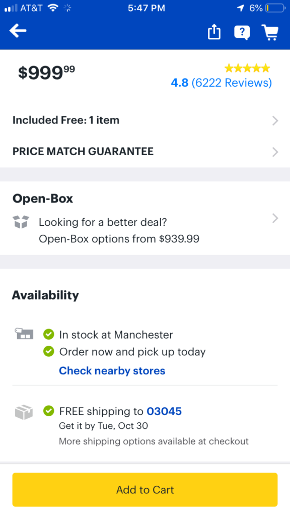 Best Buy mobile app shows local availability