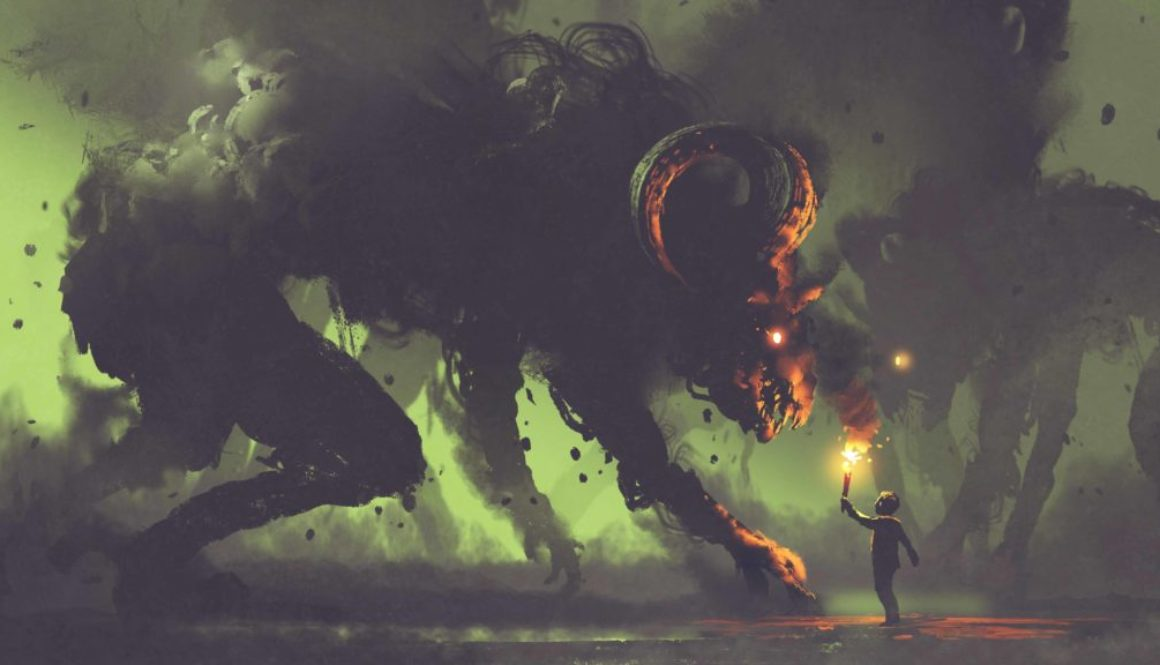 dark fantasy concept showing the boy with a torch facing smoke
